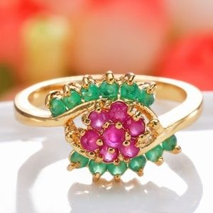 Jewelry - 14KT Gold Filled Ruby & Emerald lab created ring